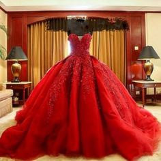 Luxury-Red-Lace-Appliques-Wedding-Dresses-New-Ball-Gown-Organza-Bridal-Gowns