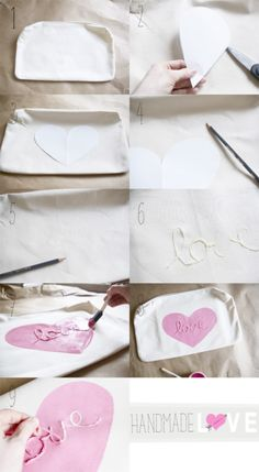 """Love"" DIY pillow case."