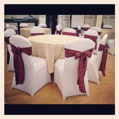 White Spandex Chair Covers/Burgundy Crinkled Taffeta Sashes with Champagne Taffeta Crinkled Overlays :) www.bayarealinens.com