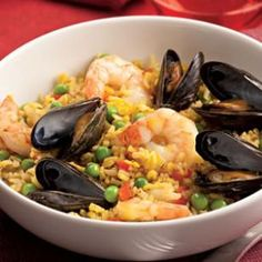 Quick Paella with Shrimp & Mussels Recipe...substitute chicken or spicy turkey sausage for mussels.