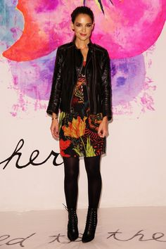 Pin for Later: The Stars Continue to Catch Our Eye as Fashion Month Moves Along Katie Holmes at NYFW The actress loves a good leather jacket and opted to wear one to Desigual.