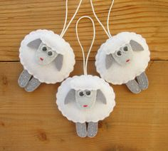 Felt Sheep Ornaments, Christmas tree decorations, Home Decor, Xmas felt ornaments, Symbol of 2015