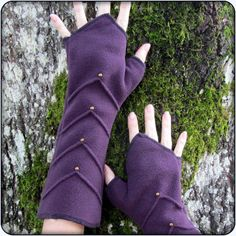 arm warmers, fingerless gloves, for cozy winter, red purple teal or gray fleece by TalismanaDesigns