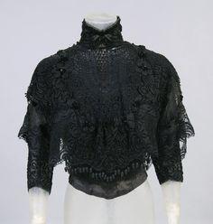 1905, America - Woman's Blouse sold by Strawbridge & Clothier, Philadelphia - Silk crochet and net over boned silk, embroidered soutache braid band, silk flowers