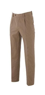 Tan Non-Iron Pleat Front Classic Fit Chinos - our exceptional Savile Row tan pleat-front chinos with a glorious non-iron convenience.