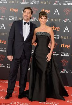 Cute couple:Husband and wife duo Penelope Cruz and Javier Bardem stepped out for the Goya...