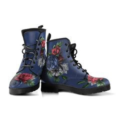 90s Boots, Goth Boots, Pink Boots, White Boots, Women's Boots, Custom Shoes, Custom Design Shoes, Leather Lace Up Boots, Vintage Flowers