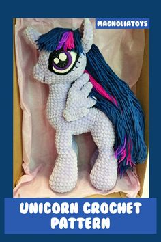 Unicorn (pony) crochet pattern is an 60 pages PDF pattern (with step by step photos) - Available in English. Size toy inch tall when made with the indicated or similar yarn. Crochet Pony, Crochet Unicorn Pattern, Crochet Horse, Crochet Eyes, Crochet Patterns Amigurumi, Crochet For Beginners, Crochet For Kids, My Little Pony Plush, Unicorn Doll