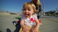 OKay its not on snow, but sooo cute!!! GoPro: Ava, Baby Skateboarder