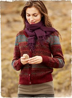 Rendered in cheery hues of cranberry, bittersweet, burgundy and grey, our mid-weight Fair Isle cardigan is knit of snuggly, soft alpaca Warm Outfits, Mode Outfits, Winter Outfits, Alpaca Cardigan, Country Fashion, Fair Isle Knitting, Knitting Designs, Sweater Weather, Knitwear