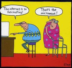 Funny Old Man Internet Microwave Cartoon   Funny Joke Pictures