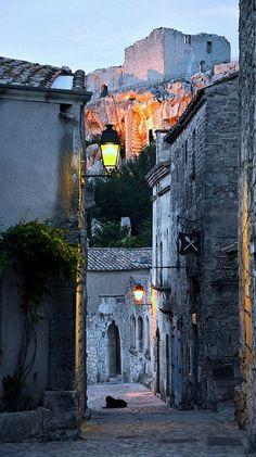 Les Baux de Provence at night France