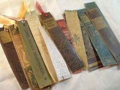 Old Book Page Crafts - cute bookmarks? what if everyone brought with them an old book? or check out a local goodwill and grab a few.