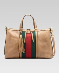 Rania Leather Top Handle Bag, Classic Khaki by Gucci at Neiman Marcus.
