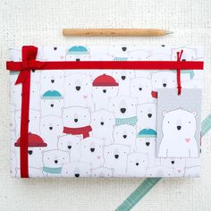 Polar Bear Christmas Wrapping Paper Set. Festive Gift Wrap. Christmas Gift Wrap. Childrens Wrapping Paper.