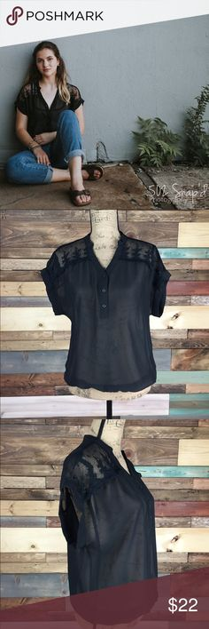 "The Limited Sheer Black Lace Blouse -  s The Limited Sheer Black Lace Blouse -  s  So comfortable and goes perfect with a pair of mom jeans   Bust (Laying flat):21"" Length: 22"" 100% Polyester   #woodsnap #LAce #black #limited #sheer The Limited Tops Blouses"