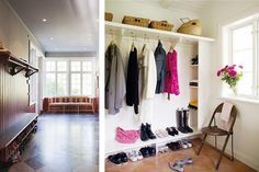 Hallways, entrys : white trim details, wooden floors and vlever storage for shoes, coats and hats. Vanellope, White Trim, Wooden Flooring, Mudroom, Storage, House, Closets, Inspiration, Entryway