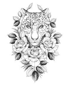 Bild Tattoos, Neue Tattoos, Body Art Tattoos, Sleeve Tattoos, Girl Leg Tattoos, Tattoo Design Drawings, Flower Tattoo Designs, Flower Tattoos, Leopard Tattoos