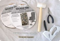 Source for a Nailhead Trim kit and how to do an upholstered headboard with nailhead trim.