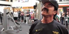 """""""Stop being a baby, this isn't a baby gym! It's Gold's Gym! :) Arnold Schwarzenegger goes undercover as personal trainer at Gold's Gym Arnold Schwarzenegger, Fake Mustaches, Governor Of California, Baby Gym, Undercover, Muscle Men, Dark Hair, Mens Fitness, Personal Trainer"""