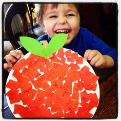 Paper Plate Apples by One Craftee Mumma!