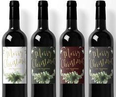 Merry Christmas Christmas Wine Label Dinner Party by LolliBella