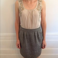 Anthropologie Silk and Tweed Dress Beige silk top with black/tan tween bottom. Beaded detailing on top. Only worn once, in great condition. Anthropologie Dresses