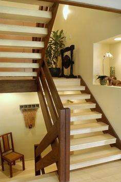 Bluestone - style stairway.  Clad existing stairs with bamboo flooring material and bamboo bullnose stair treads