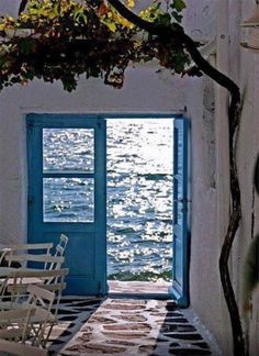 all the beauty things. Cottages By The Sea, Window View, Through The Window, Greek Islands, Greece Travel, Doorway, Mykonos, Santorini, Windows And Doors