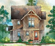 This little house is so surprising! I think a little change regarding three tiny bedrooms would take place, but the larger master suite is nice, and the little library loft is adorable. Cottage Plan, Cottage Living, Cozy Cottage, Cottage Homes, Cottage Style, Living Room, Small House Plans, House Floor Plans, Master Suite