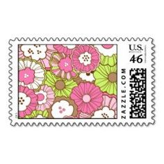 Pretty Pink Green Flowers Spring Floral Pattern Postage