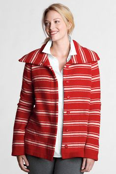 Women's Long Sleeve Stripe Felted Wool Jacket from Lands' End