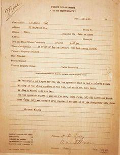 Rosa Parks' police arrest report, 1955