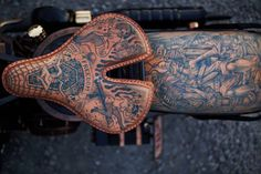 Tomasz Lech and Krzysztof Królak motorcycle made with handmade tattoo