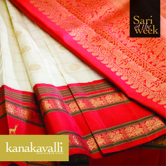 The combination of white or venpattu and red with a touch of green denotes a timeless and classy sari tradition. The striking design of the border that uses the richness of red, accentuated by green lines, sets this sari apart and makes it our favourite this week. The subtlety of the checks in the body of the sari, balanced by the grand pallu lend it an unparalleled aura of sophistication.