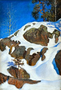 "AKSELI GALLEN KALLELA ""Snow Covered Cliffs/KALELA."""