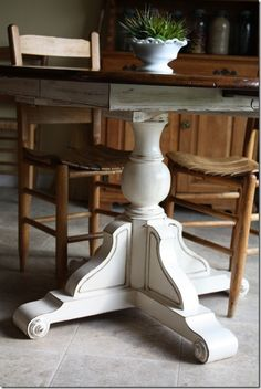 Distressed white base and dark stain top and chairs · Refinish Kitchen  TablesDistressed ...