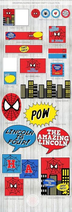 Spiderman Birthday Party Printables by monica - Visit to grab an amazing super hero shirt now on sale! Superhero Birthday Party, 4th Birthday Parties, Birthday Fun, Spider Man Birthday, Birthday Stuff, Fête Spider Man, Spider Man Party, Spiderman Theme, Spiderman Birthday Ideas