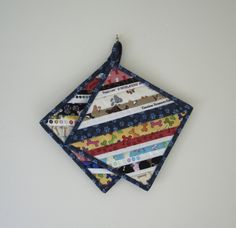 """Quilted Potholders """"Puppy Love"""" Set of 2, Fabric Trivet, Quiltsy Handmade, Quilted Hot Pad, Selvedge Stripes by ISewTotes on Etsy"""