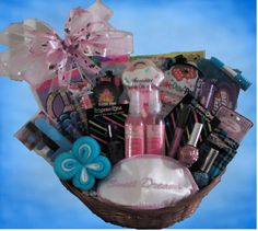 Totally Tween Gift Basket!   Great for Tween girls between the ages of 10 and 13! This basket contains various lip glosses, pencils, nail polish, candy, headbands, jewelry, body spray and more! It's a basket just full of girly surprises!  $40