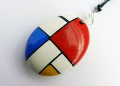 Mondrian painted stone pendant by VasariahCreations on Etsy