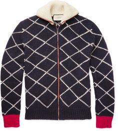 Gucci Geometric-Intarsia Wool Zip-Up Cardigan