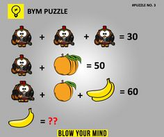 Solve this puzzle made with pictures. This puzzle is a test your IQ and you have to have a close look at this to solve and comment your answer below. I'm pretty sure banana equals ten Math Teacher, Math Classroom, Teaching Math, Best Brain Teasers, Brain Teasers With Answers, Test Your Iq, Reto Mental, Math Crafts, Math Stem