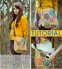 Free Bag Pattern and Tutorial - Braided Leather Belt Messenger Bag