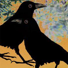 Hand-painted and Digital Ceramic Tiles Quoth The Raven, Raven Bird, Crow Art, Bird Art, 4 And 20 Blackbirds, Scary Birds, Blackbird Singing, Landscape Art Quilts, Dark Wings