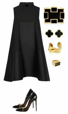 black and gold featuring Alexander McQueen, Sondra Roberts, Devon Leigh, Van Cleef & Arpels, Christian Louboutin and Aurélie Bidermann Classy Outfits, Chic Outfits, Summer Outfits, Classy Clothes, Style Clothes, Dress Summer, Look Fashion, Womens Fashion, Fashion Trends