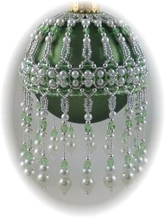 veiled Beauty Ornament Cover Pattern - Bead Patterns by Michelle Skobel Beaded Christmas Ornaments, Noel Christmas, Handmade Ornaments, Handmade Christmas, Christmas Decorations, Handmade Decorations, Crochet Ornaments, Crochet Christmas, Beaded Ornament Covers