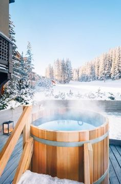 27 Outdoor Hot Springs, Tubs & Pools To Warm Up Your Winter Travels | Aman Le Mélézin | Photo: Aman Resorts