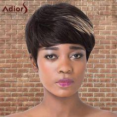 Fluffy Short Full Bang Mixedcolor Straight Synthetic Adiors Wig