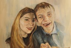 Lucy and Miles. Oil on Board 60 x 50